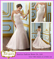 Encantador novia sirena sin mangas con cuentas y apliques con banda larga cola de sirena de vestidos de novia 2013( hs139)