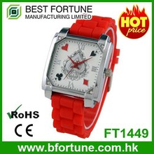 FT1449 Cheap price card game print stainless steel back watch