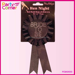 Factory Price Bride To Be Rosette Badge Black