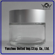 30g Clear Glass Cosmetic Jars/Bottle With Aluminium Lid