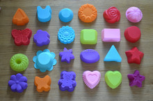 Colorful heart shaped silicone cake mould