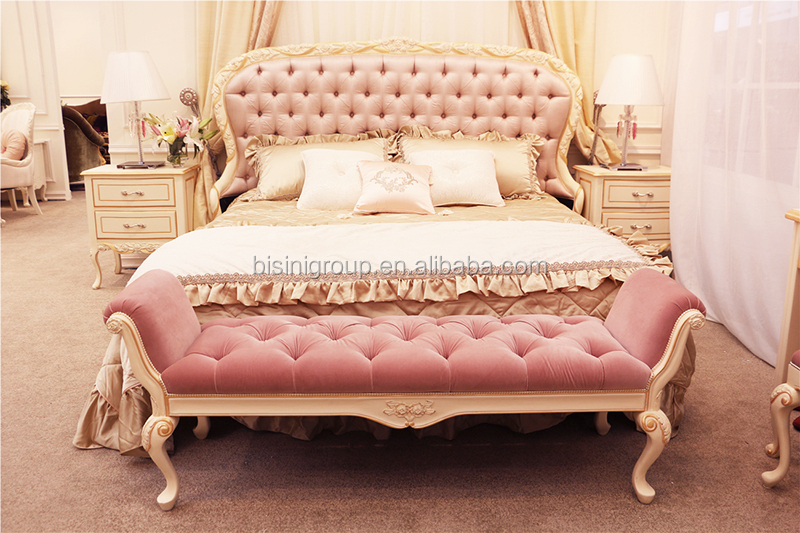 BF11 07221 Princess Pink Rococo Bed Flower Carved 01
