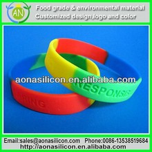 rubber mixing colors bracelets with personalized message and artwork