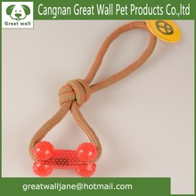 Wholesale colored weaving cotton rope pet toys with Rubber bone