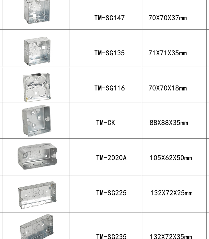 3x3 3x6 1 Gang 2 Gang Galvanized Steel Electric Switch Box