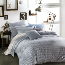 4PCS 100% polyester hotel bed sheets wholesale blue and white little squares printed bedding set