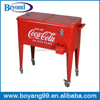 traveling metal ice cooler box with wheels
