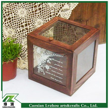 High quality lacquer glossy wooden box with 6-side glasses