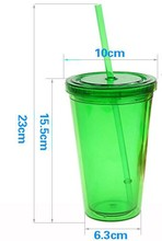 CE / EU,CIQ,FDA,LFGB,SGS Certification and Plastic Material hot sale custom plastic mug with straw for home