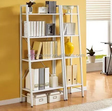 Classtic solid wood library book shelf,Leaning Ladder liberary Book Shelf White 5 tier Shelves Media Cases Wall Mount Stand Home