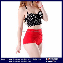 Lovegood Fashion Women Vintage 50s Pinup Girl Rockabilly High Waist Retro Bikini Swimsuit Set