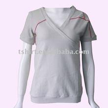 Blank women short sleeve v-neck fashion t-shirt