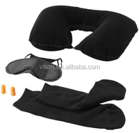 Neck Inflatable Air Travel Pillow Ear Plug Eye Shade Mask Sleep with Socks Set