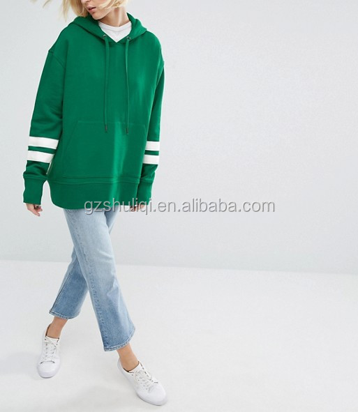 women's oversized sweatshirts dropped shoulders pullover hoodie with stripe sleeve cheap sale