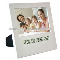 Promotional table photo frame with digital alarm clock in low price for gift