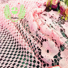 Check and flowers blended designs china pink lace embroidery fabric lace