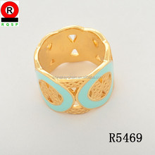 Personalized Wide Ring Gold Plated Fashion Jewelry Green Epoxy Unique Enamel Ring