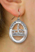 "Lead & Nickel Free!! Antiqued Silver Tone ""CHEER"" Open Oval Cheerleader With ""CHEERLEADING"" Charm Earring"