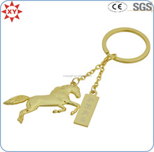 Promotional product 3D gold horse keychain