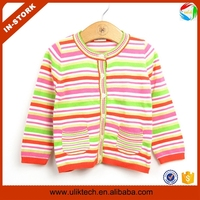 Newst style fall knitting striped cardigan sweater patterns for young girl sweater wholesale kids sweater (ulik-S011)