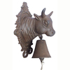 CAST IRON DOOR BELL WITH COW HEAD
