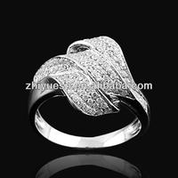 18K White Gold Plating Fake Diamond Leaf Finger Ring