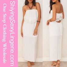 Luxury Wholesale White Overlay Bust Bandeau Summer Maxi Dress Hong Kong