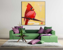 Traditional Chinese red crown bird elegant lucky home decoration classcal bird on the branches oil painting in canvas