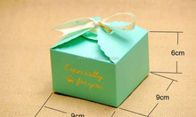 """Blue Paper Scalloped Small Box,Wedding/ Party Favor - Soap/ Cake/ Macaron/ Cookie Packaging """"gold especially for you print"""""""