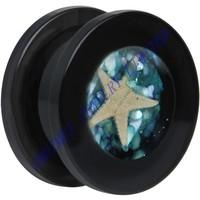 Black Acrylic Sea Of Shells Screw Fit Ear Saddle Plug Expander Stretcher Tunnel Piercing Body Jewelry 6mm-20mm