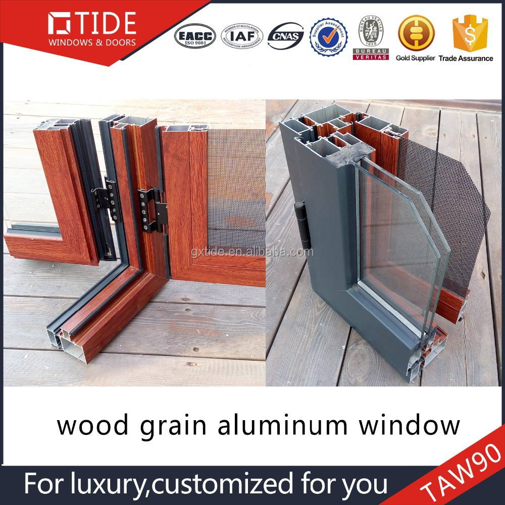 Aluminum Windows And Doors Training : Taw wooden grain aluminum used windows and doors with