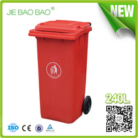 JIE BAOBAO!FACTORY MADE OPEN TOP RED UNBREAKABLE 240L MODELS GARBAGE CANS