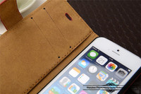 Hot selling cow leather mobile phone stand flip case for iPhone 4/4S