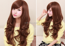 Long Layer Curly Synthetic Wig,Brown Lovely Perwig for Women