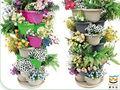 Hot 2014 borboleta colorida vaso de flores, quadrados pintados à mão e vasos, plástico vaso de flores