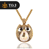 Fashion hot selling Vintage Alloy rhinestone owl Necklace Pendant long Metal Chain Necklace jewelry for women 2015/