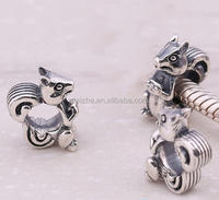 New arrived 925 sterling silve squirrel charm beads for bracelet oxidation animals european beads accessories