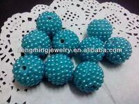 Teal Chunky 20mm AAA Quality Handmade Resin pearl Rhinestone Ballbeads for Chunky Bead Necklace Wholesales