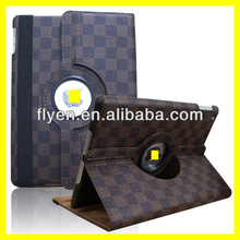 Rotating Leather Case for ipad air Deluxe Grid Checker Pattern Magnetc 360 Rotating Smart Leather Cover Brown