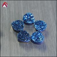 natural stones druzy agate blue color trillion shape