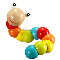 1 Pcs Colorful Insects Twist Caterpillars Flexible Puzzle Children Kids Educational Wooden Toys Train Baby Fingers