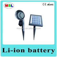 Outdoor solar garden light post with motation sensor