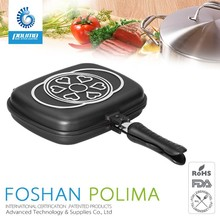 Die casting commercial non-stick frying pan double sided grill pan with removable handle