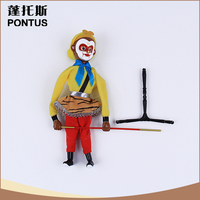 Lovely design yellow monkey wooden puppet new year gift