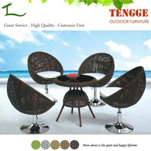 YH-7027 Stainless steel leg rattan top dining table and chair