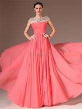 Fashion High-Neck Cap Sleeve Crystal Beaded elegant chiffon evening dresses long FXL-017