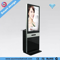 Smart design wifi 42 inch HD LCD touch screen kiosk with A4 printer