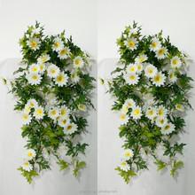 cheap artificial silk flower wholesale white Daisy decorative hanging bush flower 28 inch 40 pcs flowers