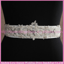 LB0002 Quality fabric best handmade High end designer custom handmade beaded wedding dress belts