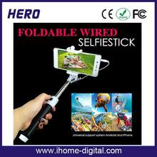 Factory price New 2 in 1 Portable Extendable Handheld Monopod Selfie Stick With dischargeable wrist strip with CE certificate